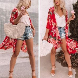 Sweaters - Red kimono cover up florals tops casual cardigan